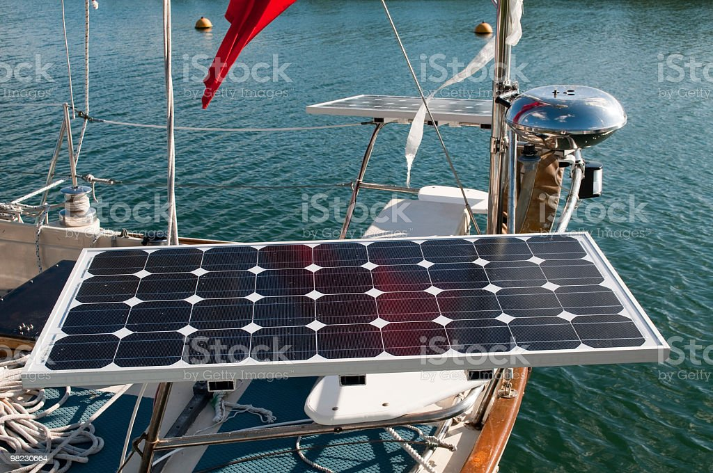 Solar panel on sailboat royalty-free stock photo