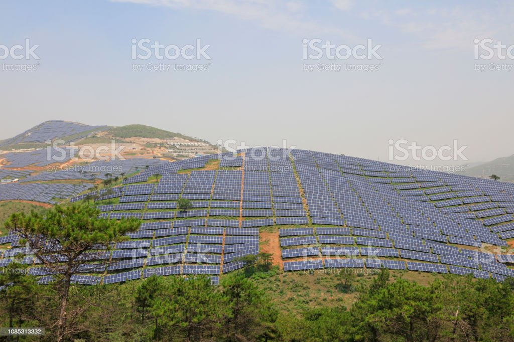 Solar-Panel auf dem Hügel, Closeup Fotos – Foto