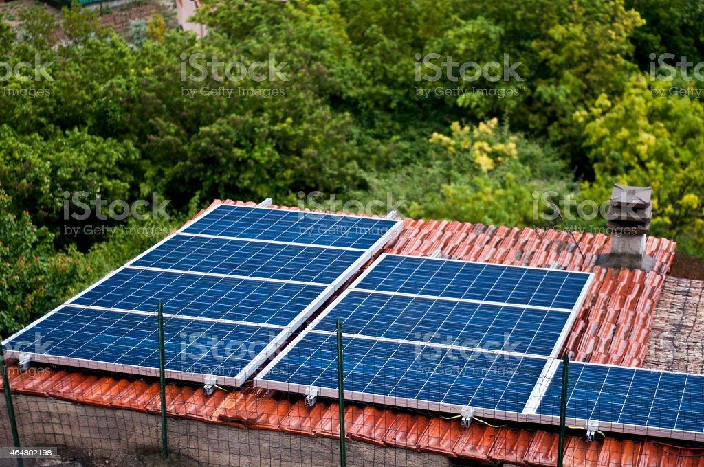 Solar Panel on the Roof in Eco-Village  Torri,italy stock photo