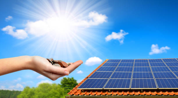 Solar panel on the roof of the house. stock photo