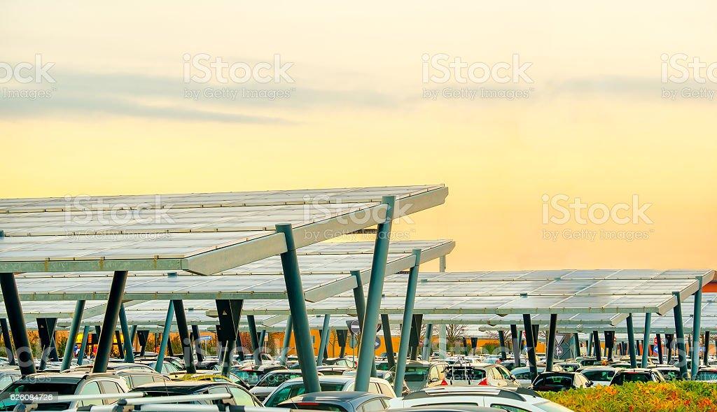 solar panel parking canopy stock photo