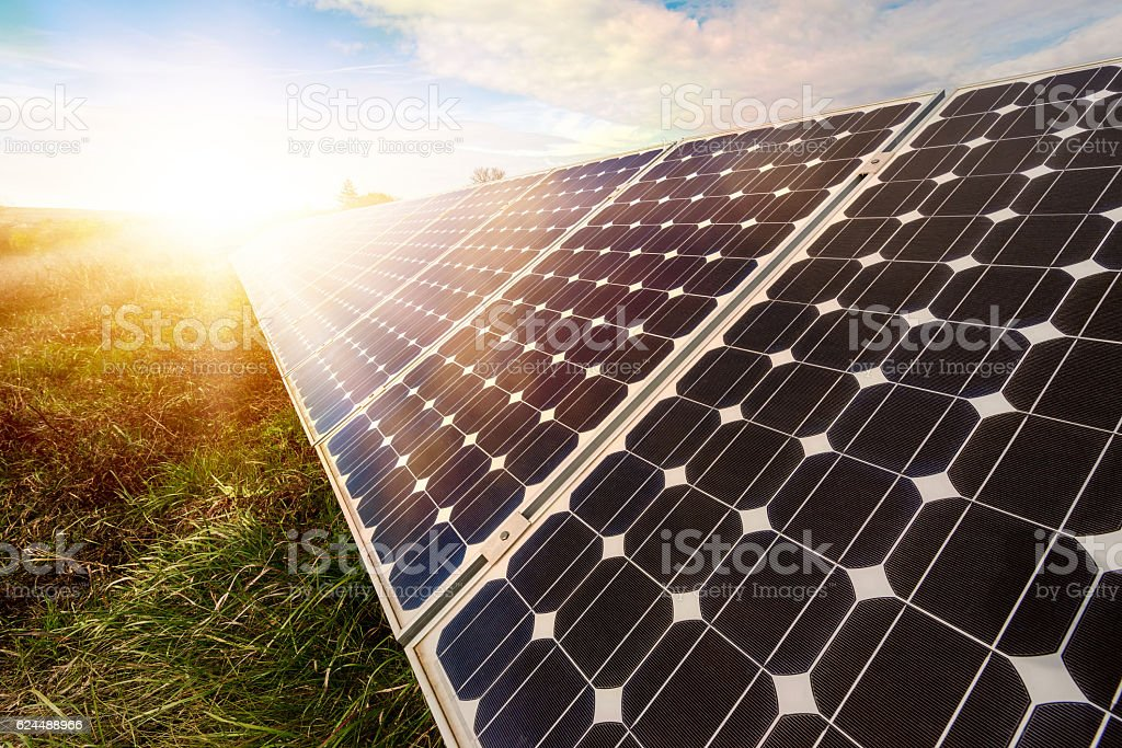Solar panel, photovoltaic, alternative electricity source stock photo