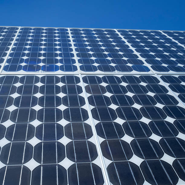 Solar panel photovoltaic cells square stock photo