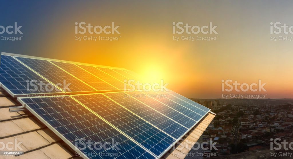 Solar Panel Photovoltaic installation on a Roof, alternative electricity source stock photo