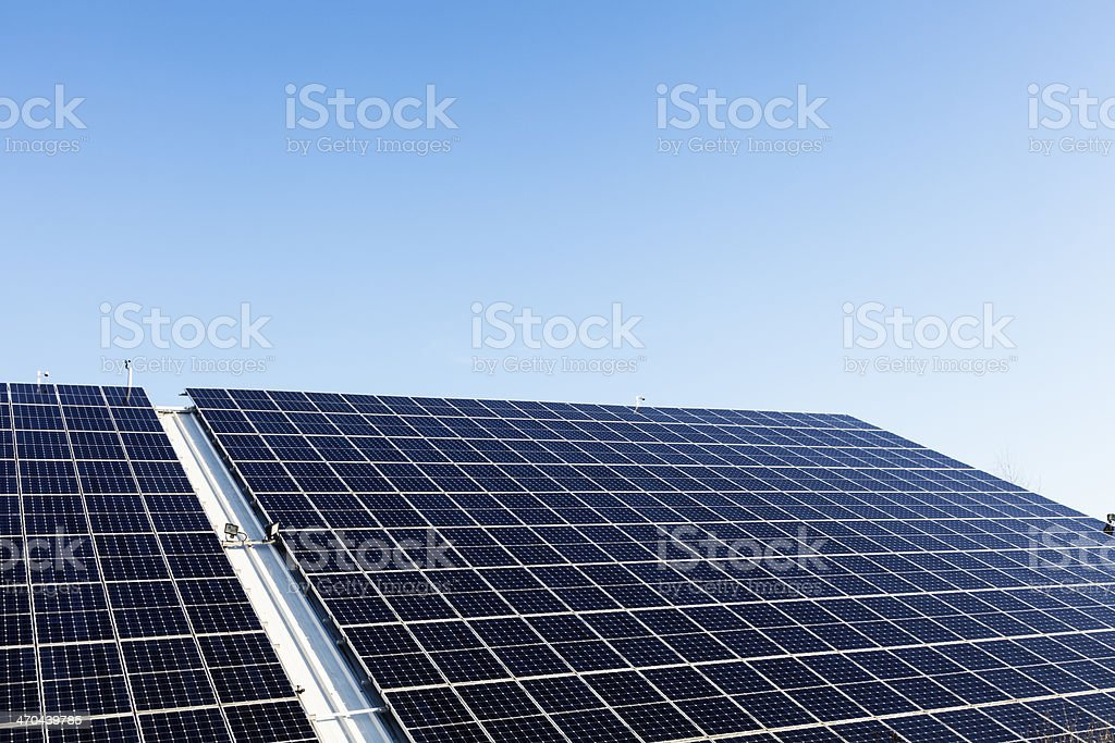 solar panel roof blue sky stock photo