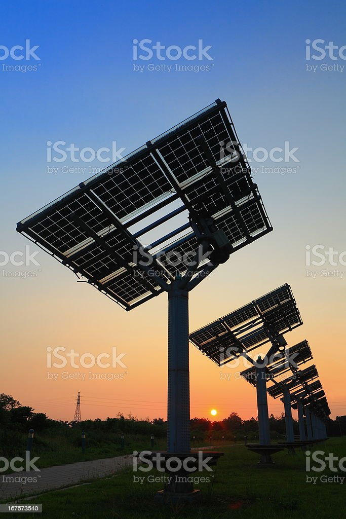 solar panel silhouette with very beautiful sunset royalty-free stock photo