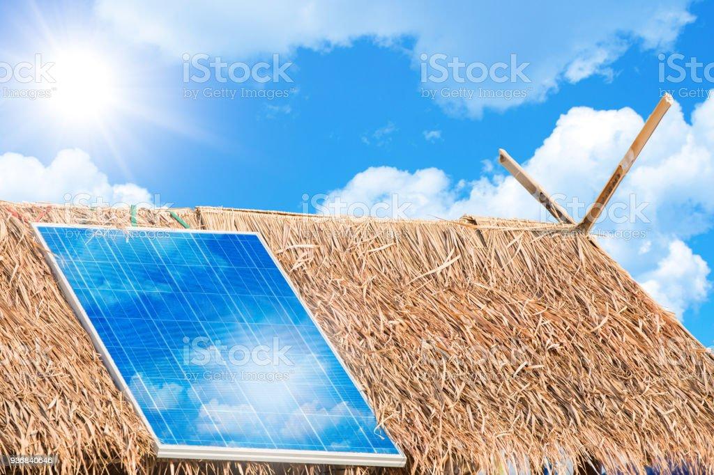 Zonnepaneel elektriciteit om macht te geven aan landelijke dorpen Concept foto