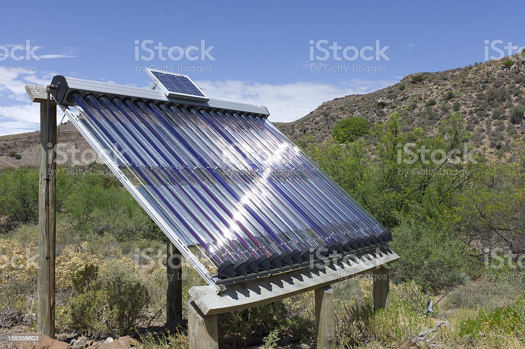 Solar Panel Water Heater, South Africa. stock photo