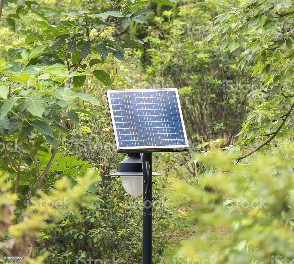 solar panel with green tree stock photo