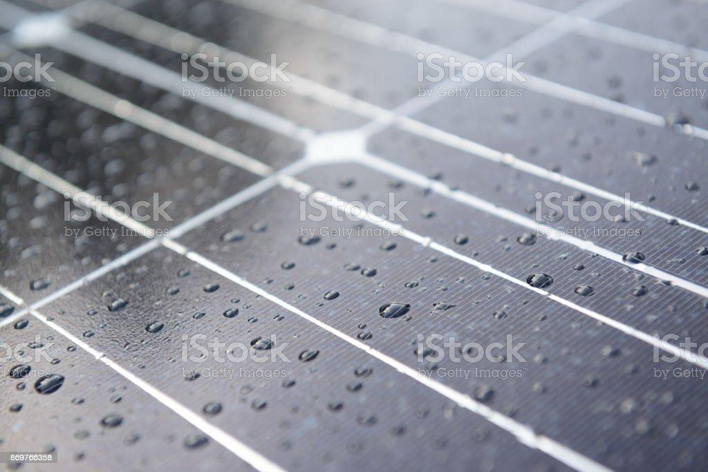 Solar-Panel mit Regen fällt auf Nano-Beschichtung – Foto
