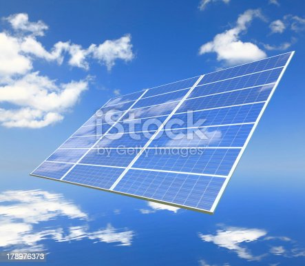 480763537 istock photo Solar Panel with reflection of blue sky and white cloud 178976373