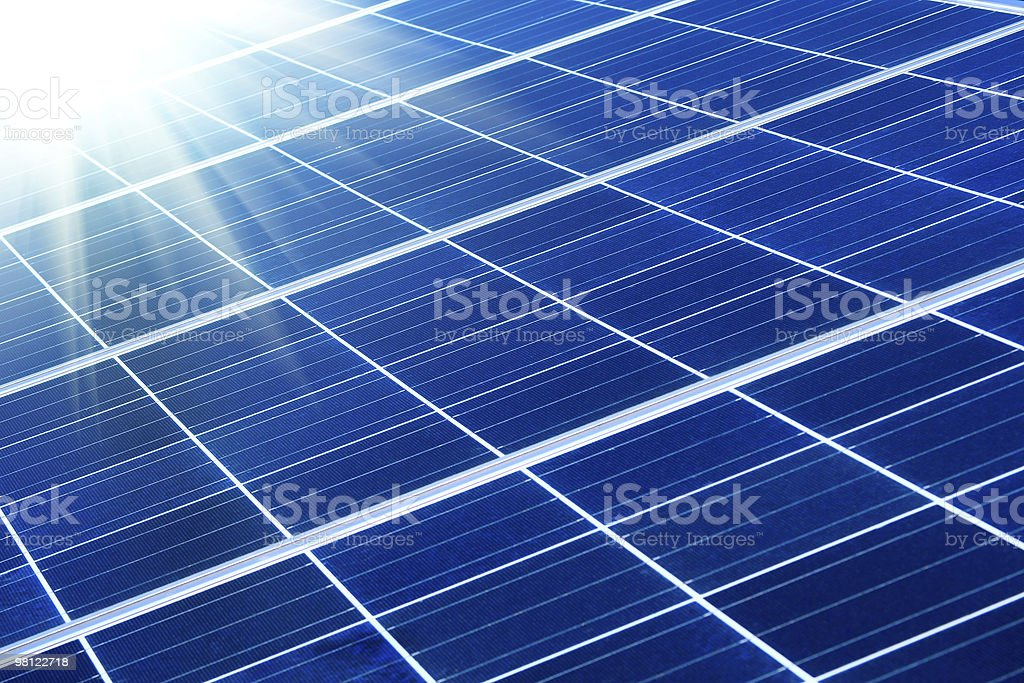 solar panel with sunbeams royalty-free stock photo