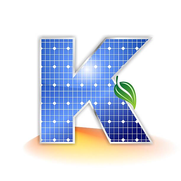 solar panels alphabet letter K solar panels texture, alphabet capital letter K illustration as icon, symbol or insignia with a green leave and a shiny yellow and orange sunbeam as suggestetive shadow k logo stock pictures, royalty-free photos & images