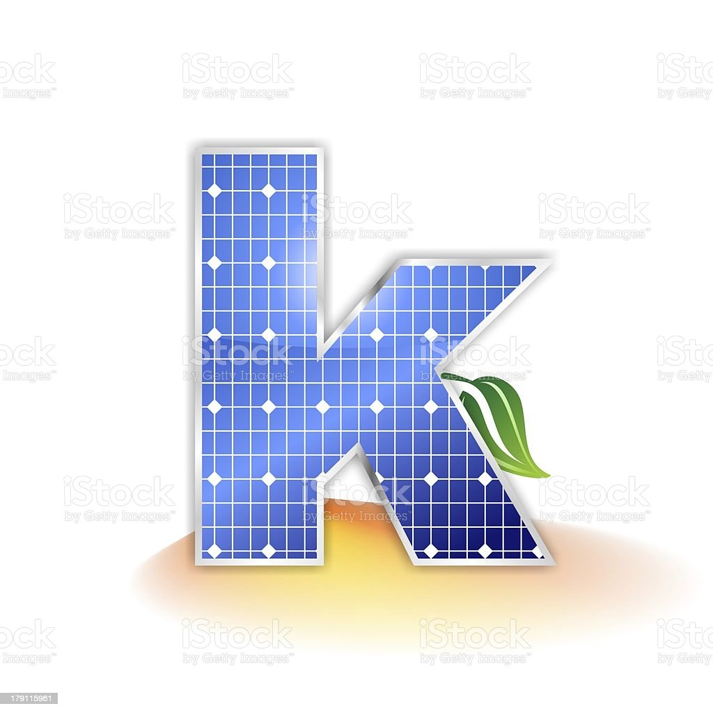 solar panels alphabet letter k solar panels texture, alphabet letter k illustration as icon, symbol or insignia with a green leave and a shiny yellow and orange sunbeam as suggestetive shadow Alphabet Stock Photo