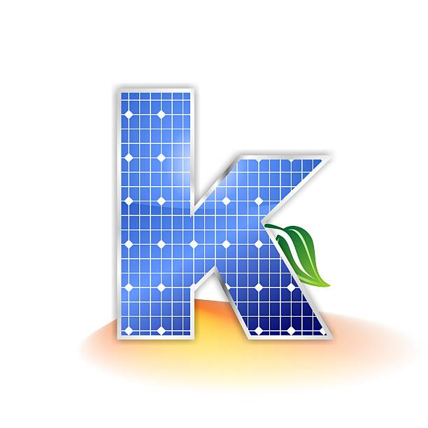 solar panels alphabet letter k solar panels texture, alphabet letter k illustration as icon, symbol or insignia with a green leave and a shiny yellow and orange sunbeam as suggestetive shadow k logo stock pictures, royalty-free photos & images