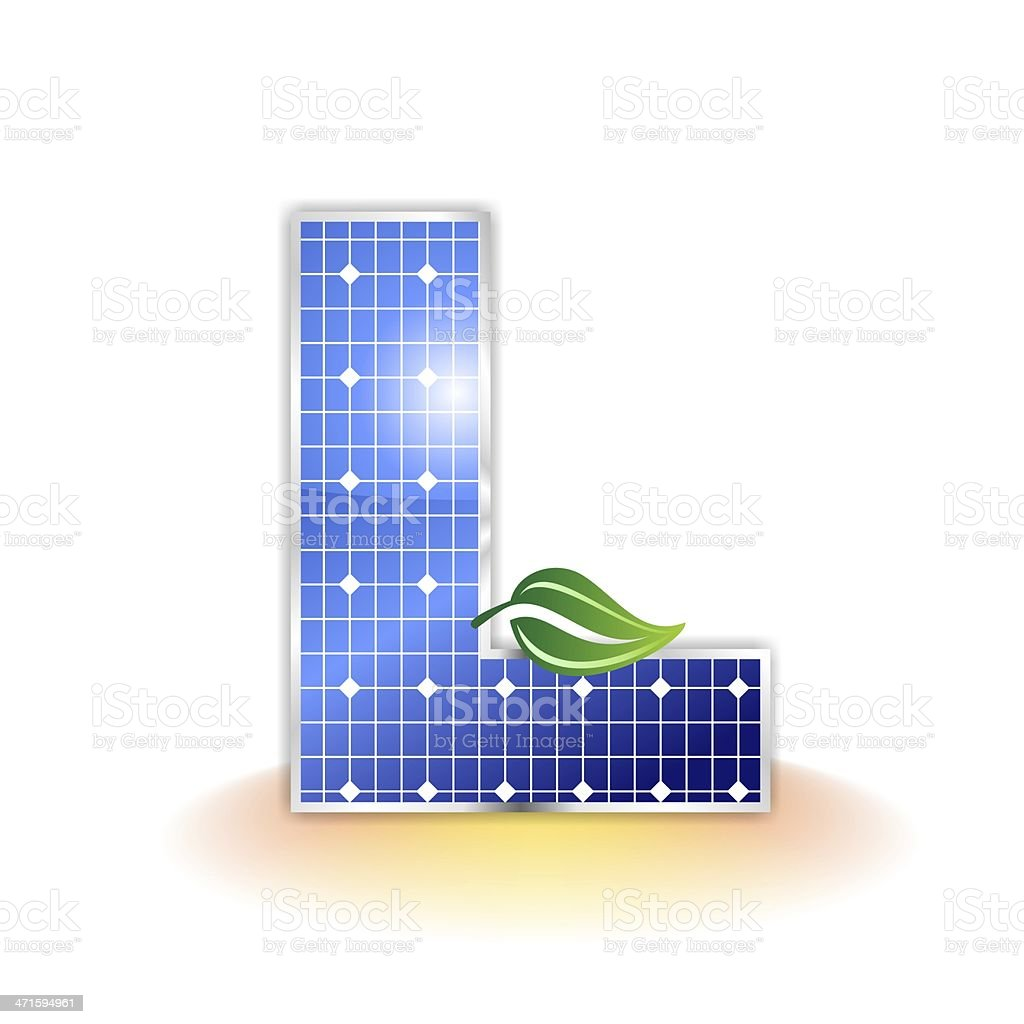 solar panels alphabet letter L royalty-free stock photo