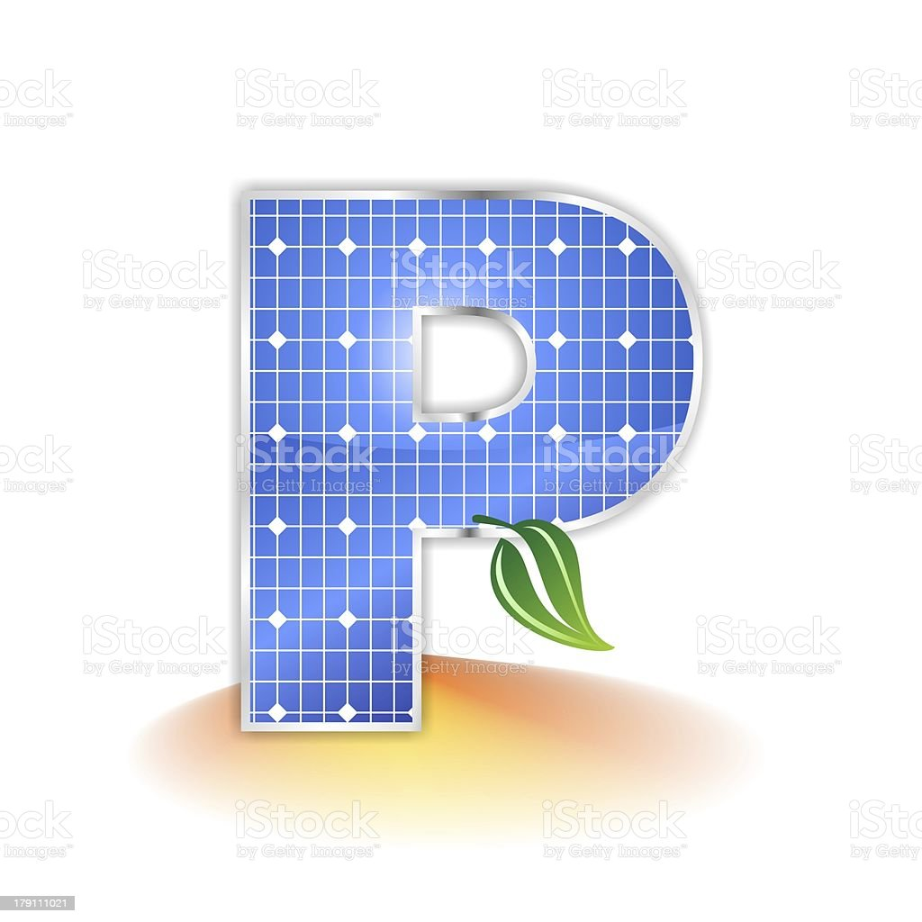 solar panels alphabet letter P royalty-free stock photo