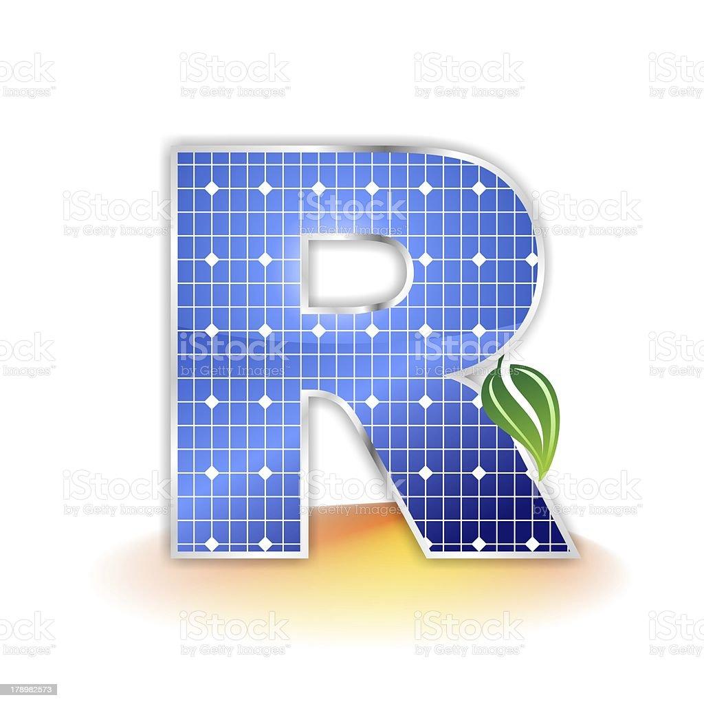 solar panels alphabet letter R royalty-free stock photo