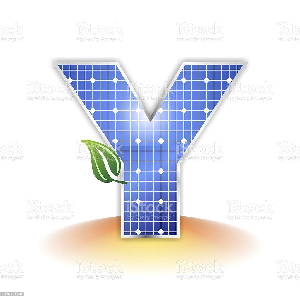 solar panels alphabet letter Y royalty-free stock photo