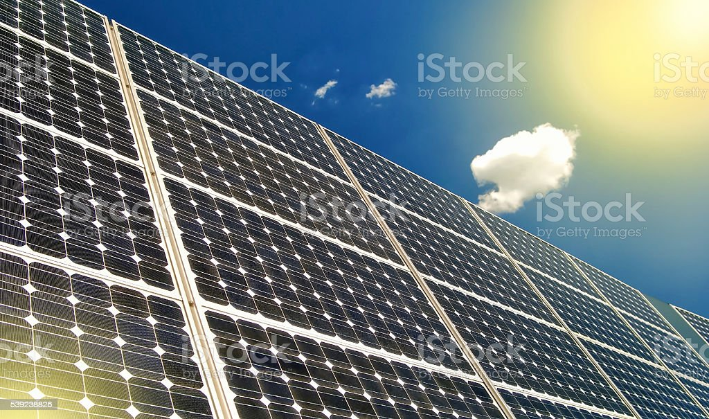 Solar panels and  blue sky royalty-free stock photo