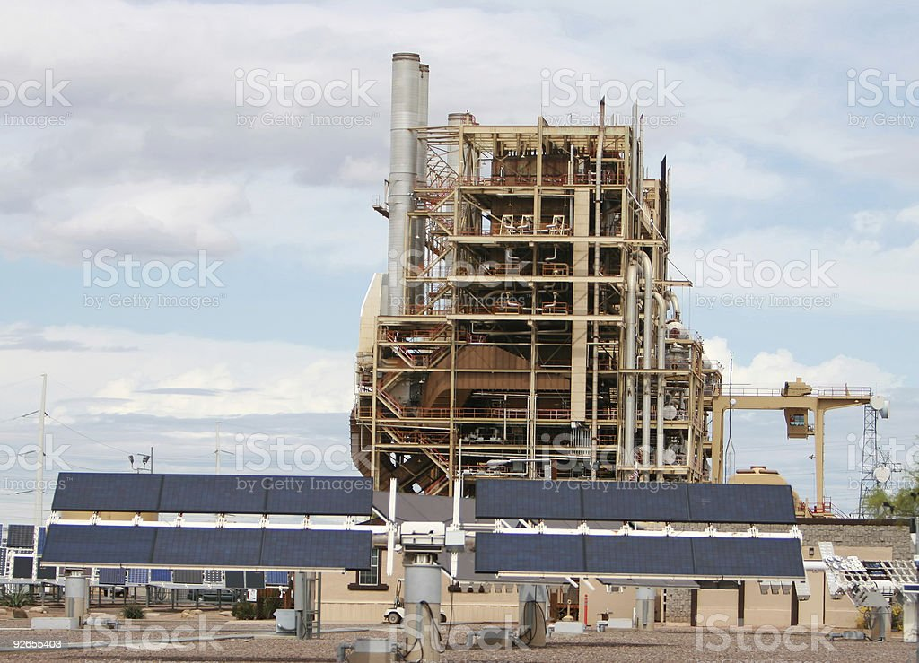 Solar Panels and Power Plant royalty-free stock photo