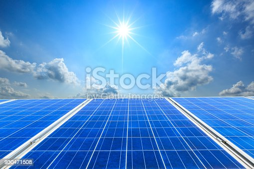 istock solar panels and sky background,green energy 930471508