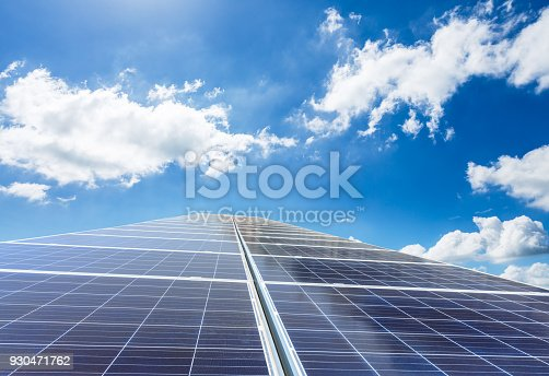 istock solar panels and sky background,green energy 930471762
