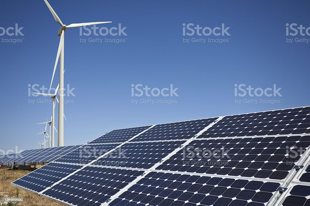 Solar panels and wind farm royalty-free stock photo