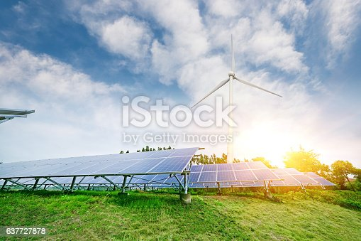 istock solar panels and wind generators 637727878