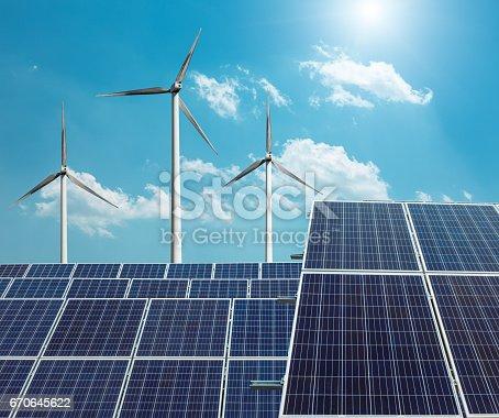 istock solar panels and wind generators 670645622