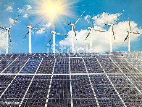 istock solar panels and wind generators 670648998