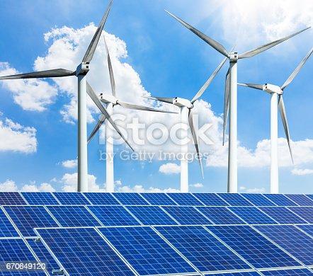 istock solar panels and wind generators 670649120