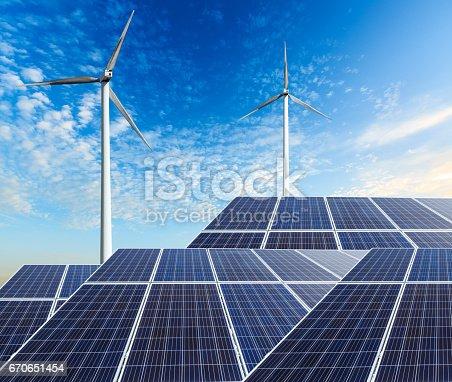 istock solar panels and wind generators 670651454