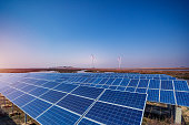 istock Solar panels and wind power generation equipment 1220544844