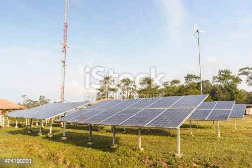 480763537 istock photo Solar panels and wind turbine with blue sky. 474190221