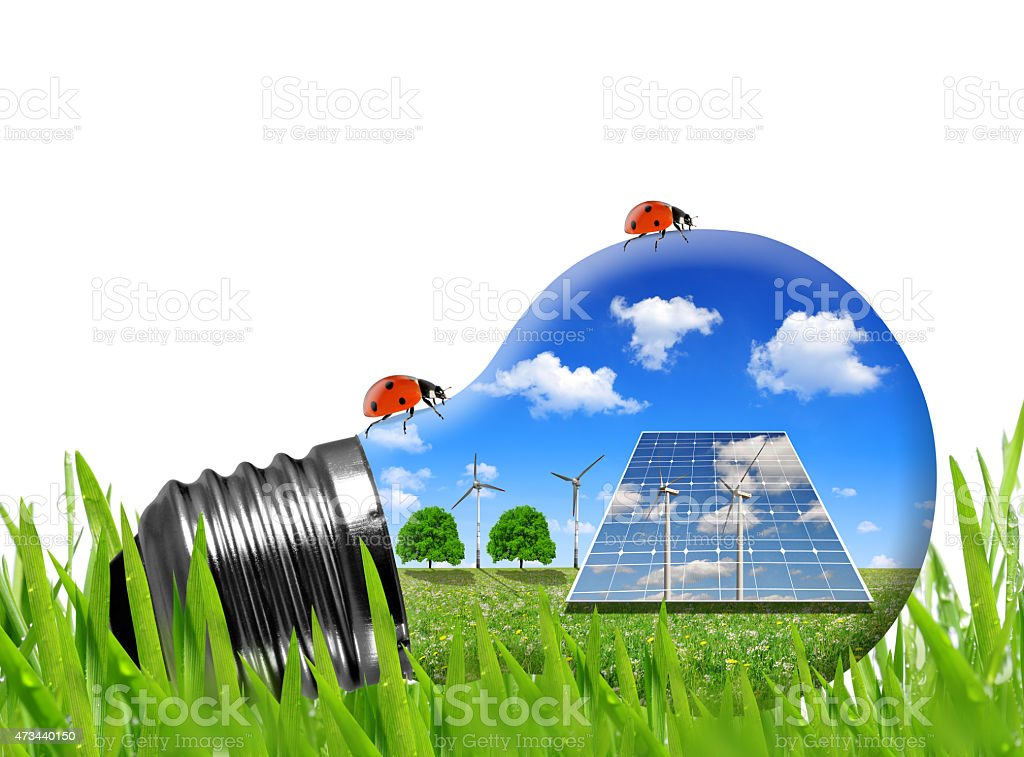 Solar Panels And Wind Turbines In Light Bulb Stock Photo & More