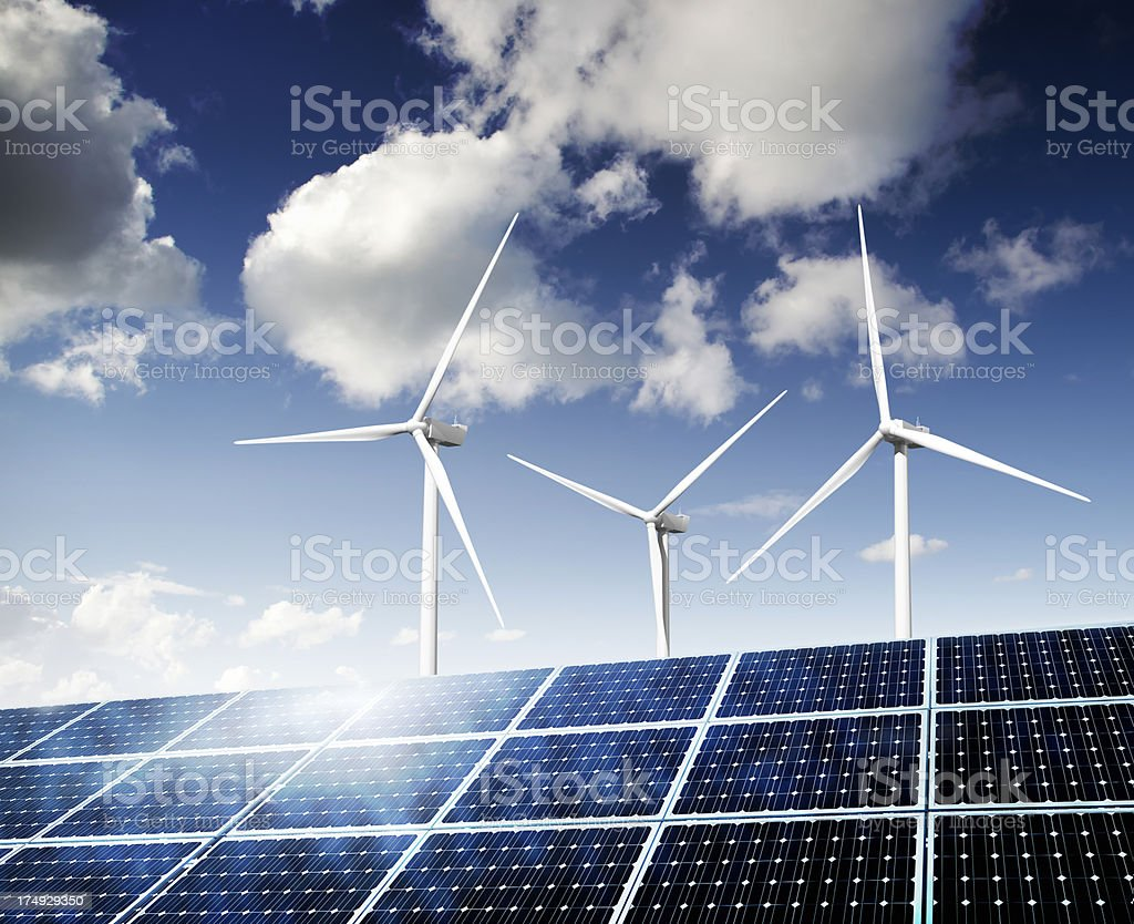 Solar Panels and Wind Turbines stock photo