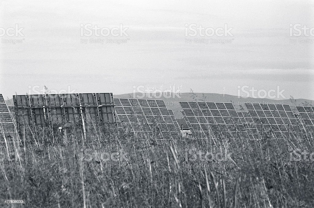 Solar panels and wind turbines royalty-free stock photo