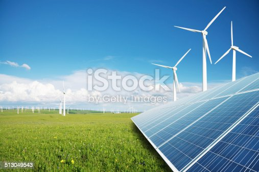 solar panels and windmill power plant