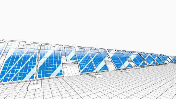 solar panels as wireframe models - wireframe solar power imagens e fotografias de stock