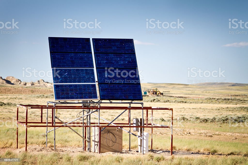 Solar Panels at Gas Well royalty-free stock photo