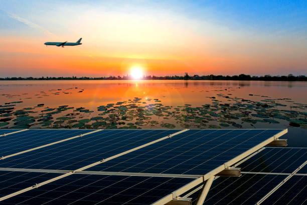 Solar panels at sunset. stock photo