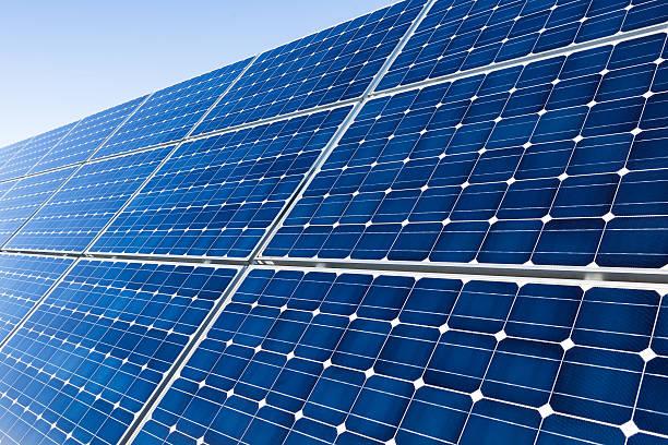 Solar panels, closeup shot stock photo