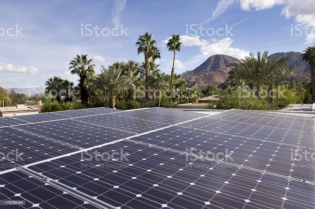 solar panels, desert home, nature stock photo