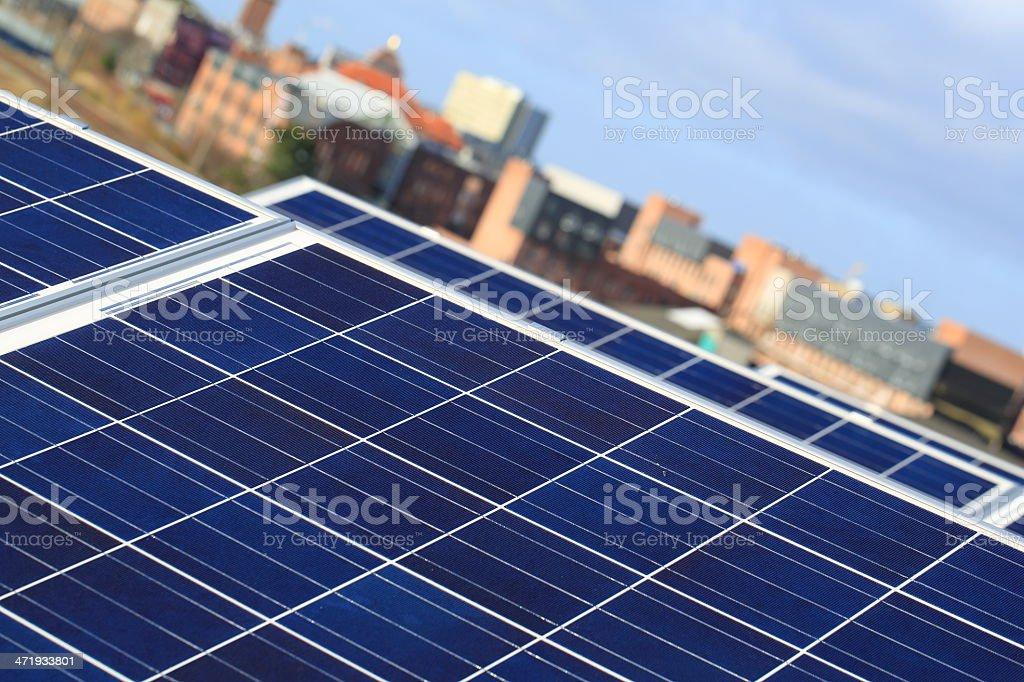 Solar Panels - energy for modern urban life style stock photo