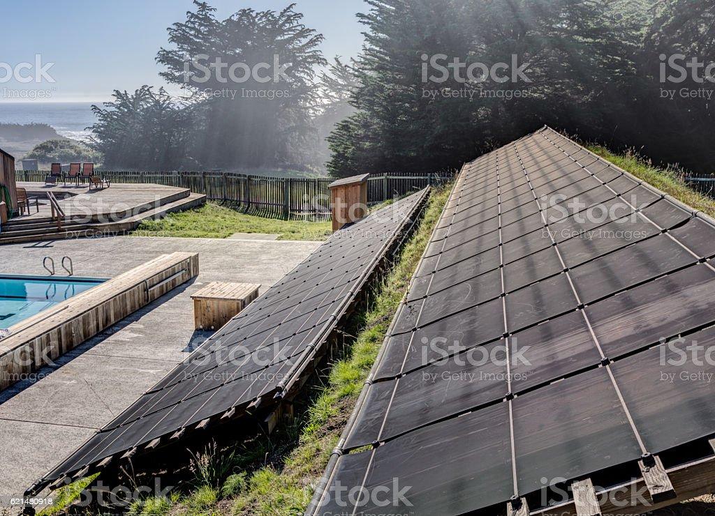 Solar panels for pool - foto de stock