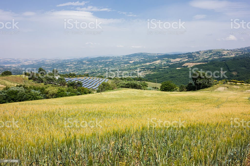 Solar Panels fro Green Energy in Molise, Italy stock photo