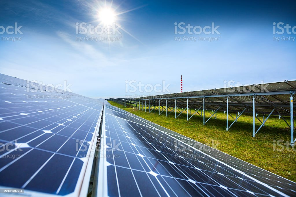 Solar panels generating clean energy stock photo