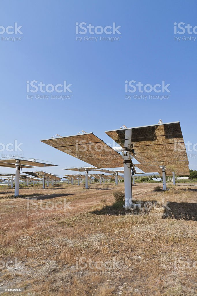 Solar Panels Heliostats royalty-free stock photo