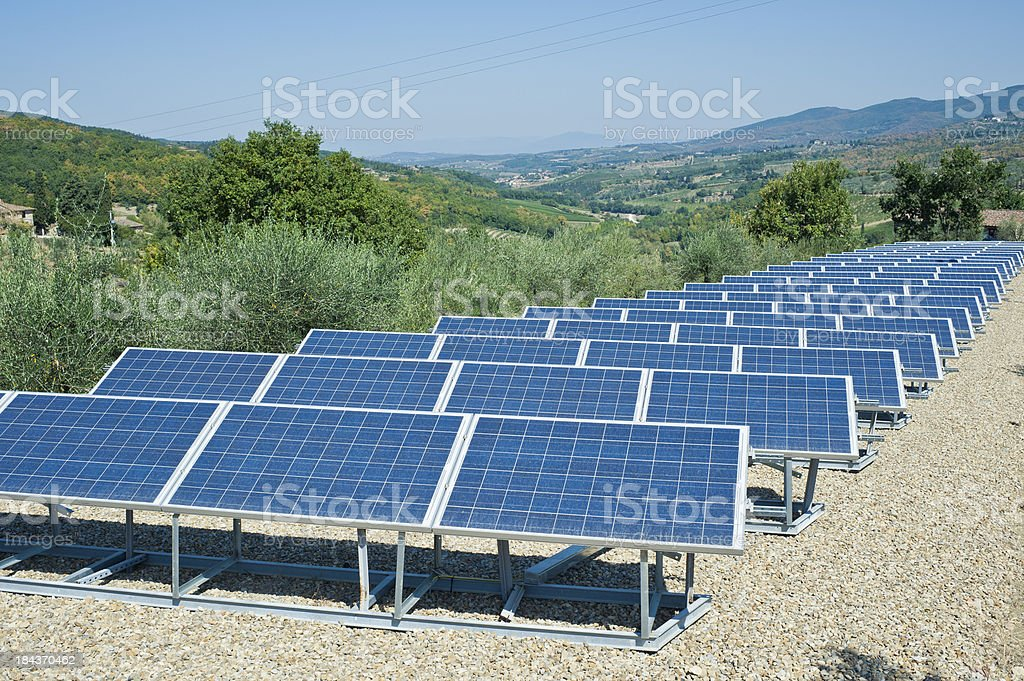 Solar Panels In A Field, Tuscany royalty-free stock photo